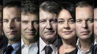 De gauche à droite : Jean-Luc Bennahmias, Benoît Hamon, Arnaud Montebourg, Vincent Peillon, Sylvia Pinel, François de Rugy et Manuel Valls. (JOEL SAGET / AFP)