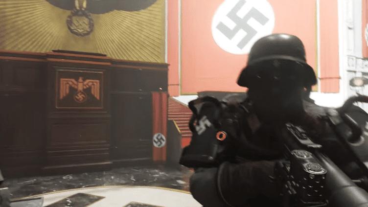 """La sortie de """"Wolfenstein II"""",un jeu dans lequel le joueur doit tuer des nazis, avait suscité un vif débat en Allemagne en 2017. (BETHESDA / YOUTUBE)"""