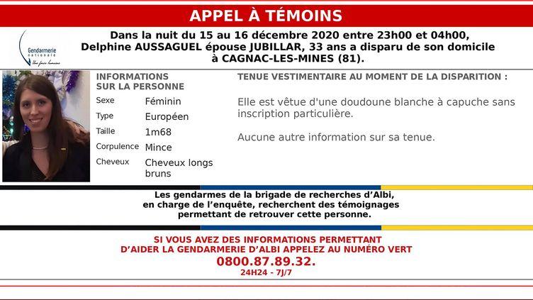L'appel à témoin diffusé le 21 décembre 2020 par la gendarmerie nationale pour retrouver Delphine Jubillar. (- / GENDARMERIE NATIONALE)