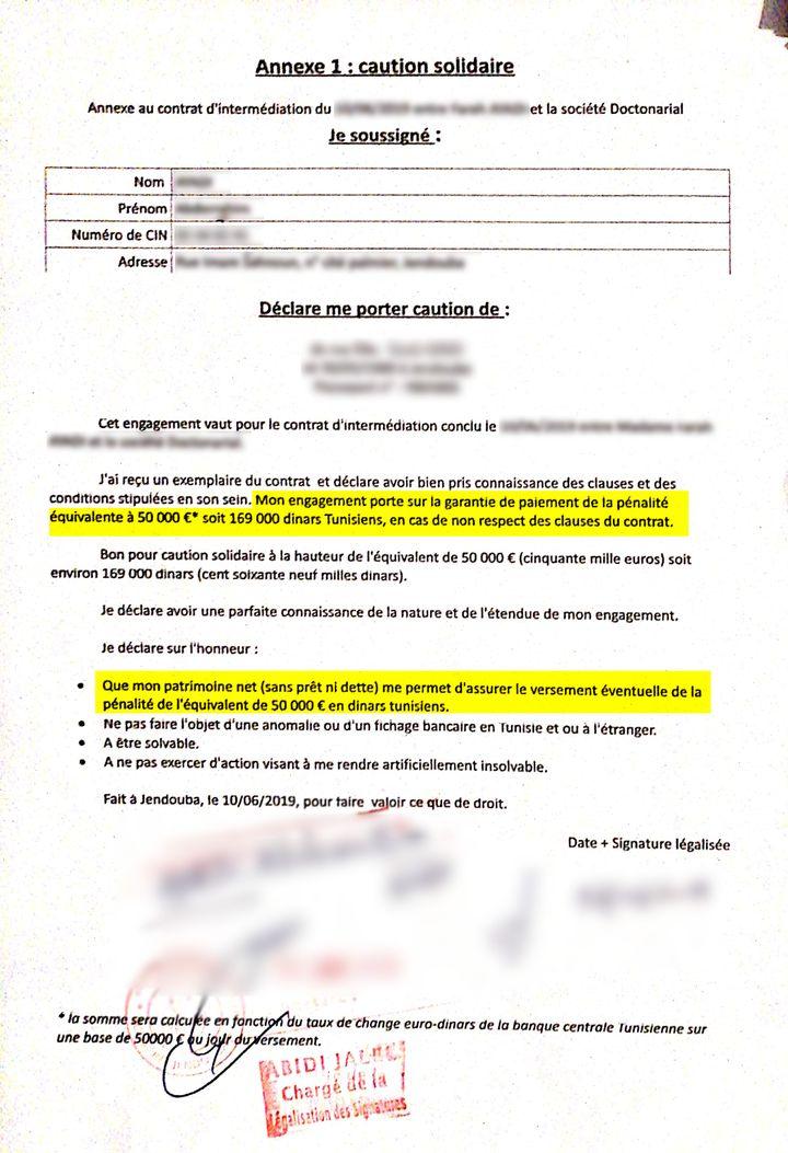 Contrat tunisien avec Doctonarial : une caution solidaire de 50 000euros est demandée aux parents des dentistes. (DOCUMENT CONFIDENTIEL CELLULE INVESTIGATION DE RADIO FRANCE / LAETITIA CHEREL)