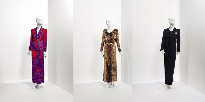De gauche à droite : ensemble du soir gazar imprimé haute couture printemps-été 1989, robe longue en velours de soie, imprimé léopard, avec sa ceinture en métal doré haute couture automne hiver 1992-1993, smoking en laine noir et attaches en passementerie haute couture.  (Christie's Images Ltd)