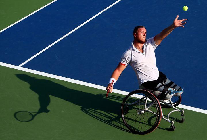 Nicolas Peifer lors de l'US Open de tennis en fauteuil à New York (Etats-Unis), le 5 septembre 2014. (STREETER LECKA / GETTY IMAGES NORTH AMERICA)