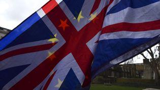 Lesdrapeaux du Royaume-Uni et de l'Union européenne lors d'une manifestation anti-Brexit, à Londres, le 27 février 2018. (ALBERTO PEZZALI / NURPHOTO / AFP)