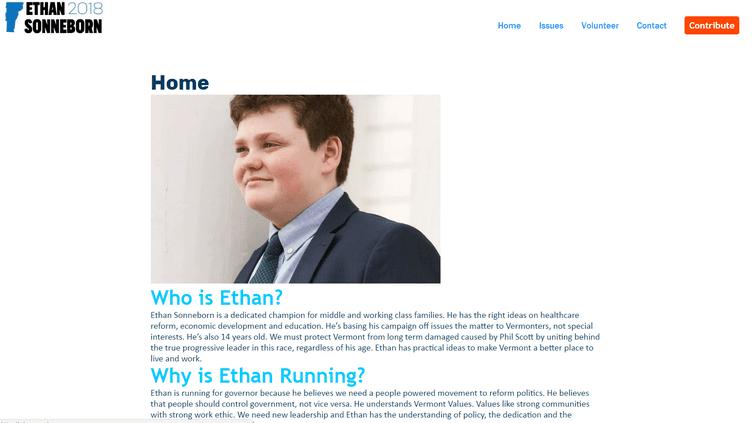 Le site de campagne d'Ethan Sonneborn, 14 ans, candidat à la primaire démocrate pour le poste de gouverneur de l'Etat du Vermont, qui se tient le 14 août 2018. (ETHANSONNEBORN.COM)