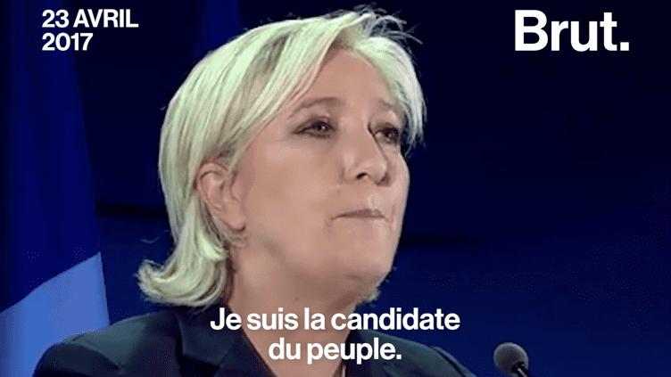 Lors de son discours au soir du premier tour de l'élection présidentielle, Marine Le Pen a choisi des mots relativement similaires à ceux de son père en 2002. (Brut)