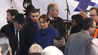 Ségolène Royal assiste aux obsèques des quatre victimes juives françaises de l'Hyper Cacher, le 13 janvier 2015 à Jérusalem (Israël). (JACK GUEZ / AFP)