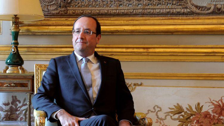 Le président de la République, François Hollande, le 22 juin 2012 à l'Elysée. (JEAN-FRANCOIS MONIER / AFP)