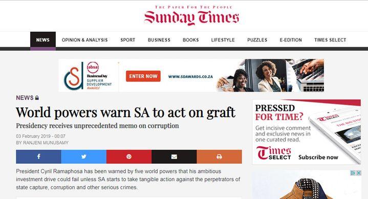 """""""Les puissances mondiales mettent en garde l'Afrique du Sud contre la corruption"""", titrait le """"Sunday Times"""" le 3 février 2018 en révélant la note envoyée par cinq pays occidentaux aux autorités sud-africaines. (Capture d'écran du site du """"Sunday Times"""")"""