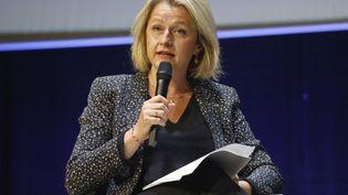 Barbara Pompilis'exprime lors du congrèsde l'UICN à Marseille, le 3 septembre 2021. (LUDOVIC MARIN / AFP)