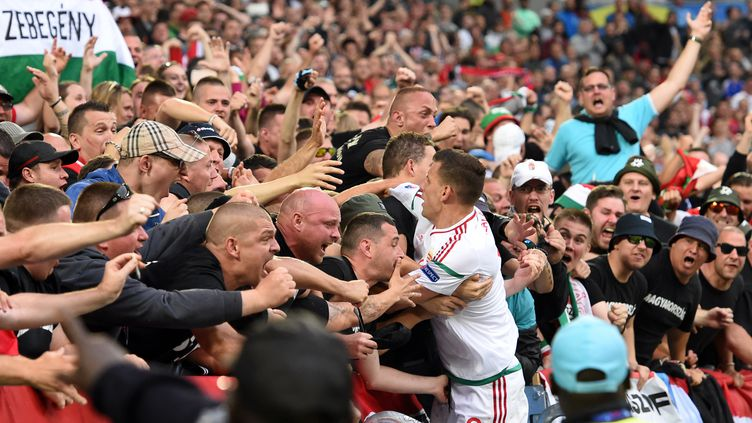Szalai célèbre l'ouverture du score avec les supporters. (MEHDI FEDOUACH / AFP)
