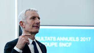 Le président de la SNCF, Guillaume Pepy, lors d'une conférence de presse, le 27 février 2018, au siège du groupe à Saint-Denis (Seine-Saint-Denis). (ERIC PIERMONT / AFP)