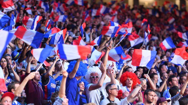 Des supporters français, lors de France-Turquie, le 12 septembre 2015, en huitième de finale de l'Eurobasket, à Villeneuve-d'Ascq (Nord). (MUSTAFA YALCIN / ANADOLU AGENCY / AFP)