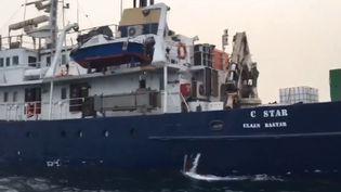 Capture d'écran d'une vidéo postée sur Facebook montrant le C-Star, le navire de 40 mètres loué par le réseau Génération identitaires. (FACEBOOK)