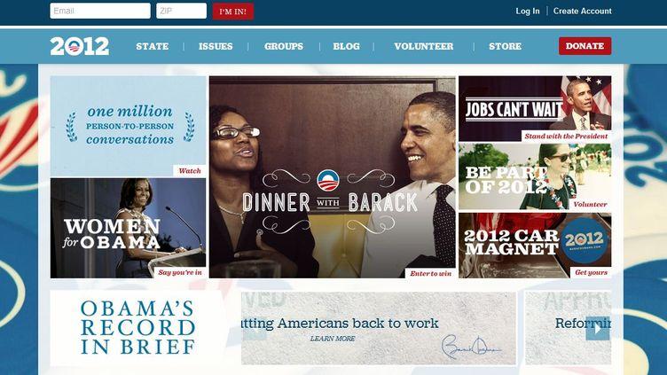 Capture d'écran de la nouvelle version du site de campagne de Barack Obama, sortie vendredi 18 novembre 2011. (Capture d'écran / DR)