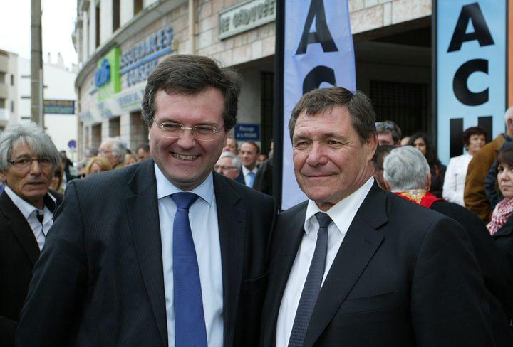 Le député Romain Grau (à gauche), le 7 avril 2012 à Perpignan (Pyrénées-Orientales). (MAXPPP)