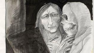 Tomi Ungerer avec la mort - (autoportrait) (CAPTURE D'ÉCRAN FRANCE 3)