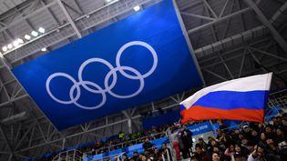 Un drapeau russe brandit en tribune, le 16 février 2018 à Gangwon (Corée du Sud). (BRENDAN SMIALOWSKI / AFP)