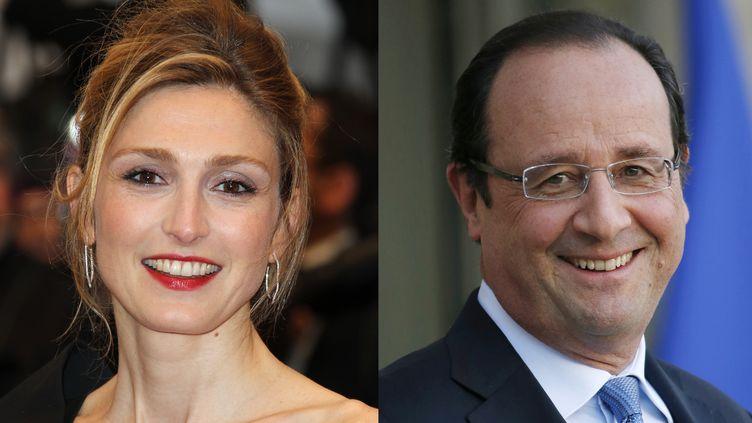 Julie Gayet, le 25 mai 2012 au festival de Cannes, et François Hollande, le 5 décembre 2013 à l'Elysée, à Paris. (THOMAS SAMSON - VALERY HACHE / AFP)