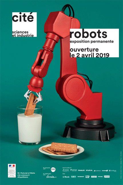 Robots : l'affiche de exposition à la Cité des sciences  (Cité des sciences et de l'industrie)