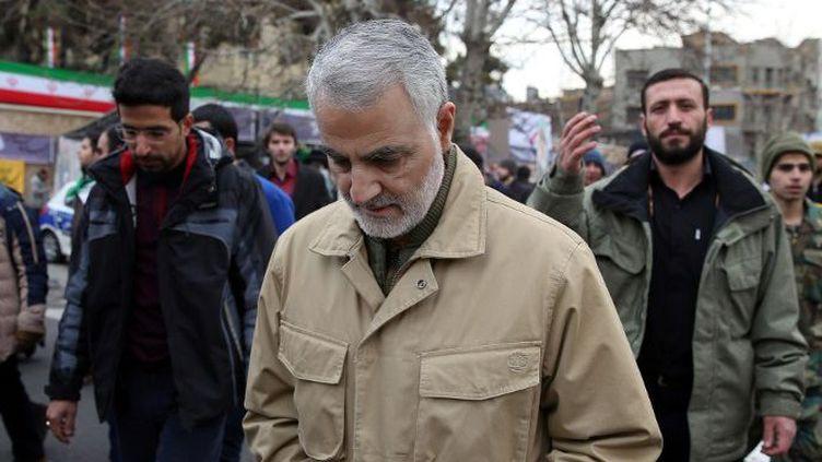 Le commandant de la force Al-Qods des Gardiens de la Révolution iranienne, Qassem Suleimani, lors des célébrations du 37e anniversaire de la Révolution Islamique, le 11 février 2016, à Téhéran. (STR/AFP)