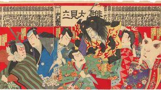 Estampe, présentation des acteurs de Kabuki disposés à l'imitation des lutteurs de sumo, Japon, ère Meiji (1868-1912), impression sur papier  (Shôchiku Costume Co, Ltd, Tokyo)