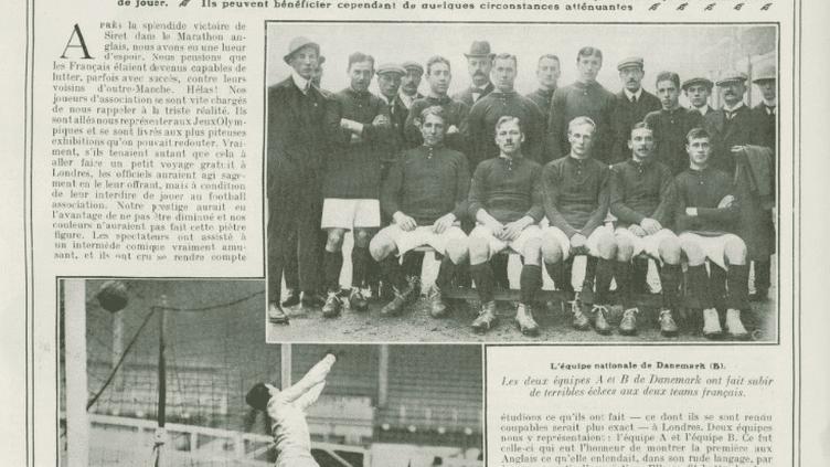"""Une page du journal sportif """"La Vie au grand air"""" chroniquant la défaite historique de l'équipe de France face au Danemark le22 octobre 1908 à Londres. (DR)"""