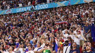 Des supporters français et portugais, le 23 juin 2021 lors du match Portugal-France à Budapest (Hongrie). (BERNADETT SZABO / AFP)