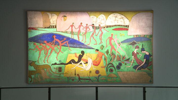 """""""American picnic"""" de Juliette Roche - 1918 - 217 x 374 cm (Musée des beaux-arts de Besançon / Fondation Albert Gleizes)"""
