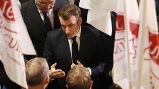 Emmanuel Macron au Salon de l'agriculture au parc des expositions de la Porte de Versailles à Paris, le 22 février 2020. (LUDOVIC MARIN / AFP)
