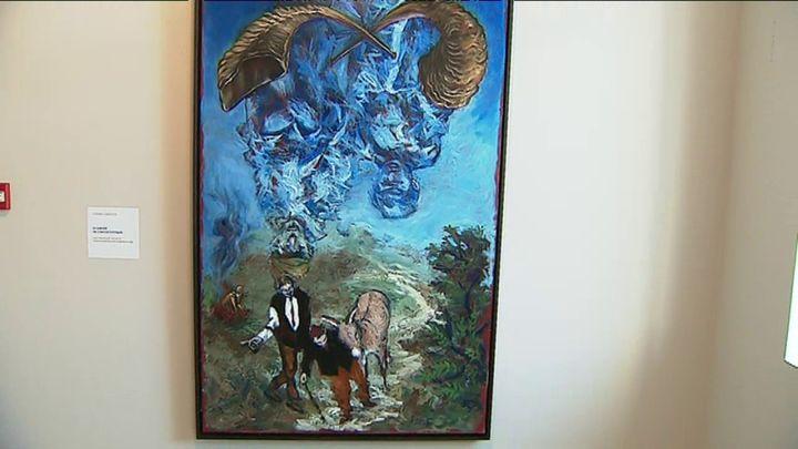 Gérard Garouste Le sablier ou l'âkédat d'Yitshak- 2019 - Huile sur toile 195 x 97 cm. Oeuvre créée pour l'exposition au Chambon. (CAPTURE D'ÉCRAN REPORTAGE FRANCE 3)