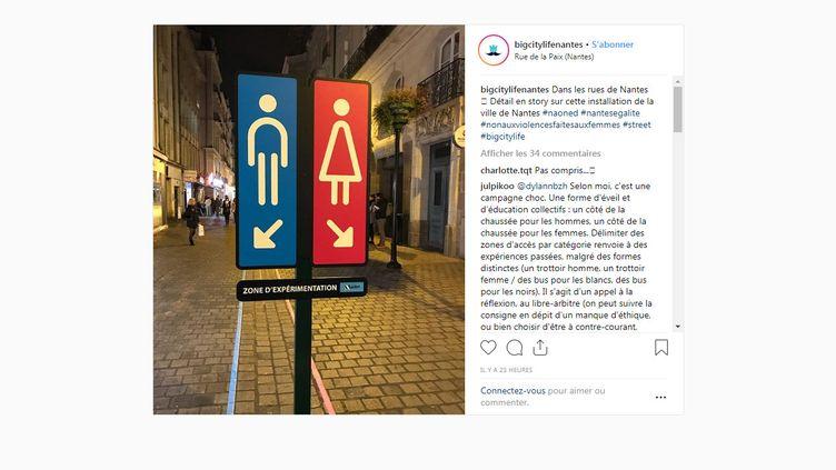 """Capture d'écran d'une photo du compte """"Big City Life Nantes"""" montrant un panneau installé à Nantes (Loire-Altantique), le 22 novembre 2018. (BIGCITYLIFENANTES / INSTAGRAM)"""