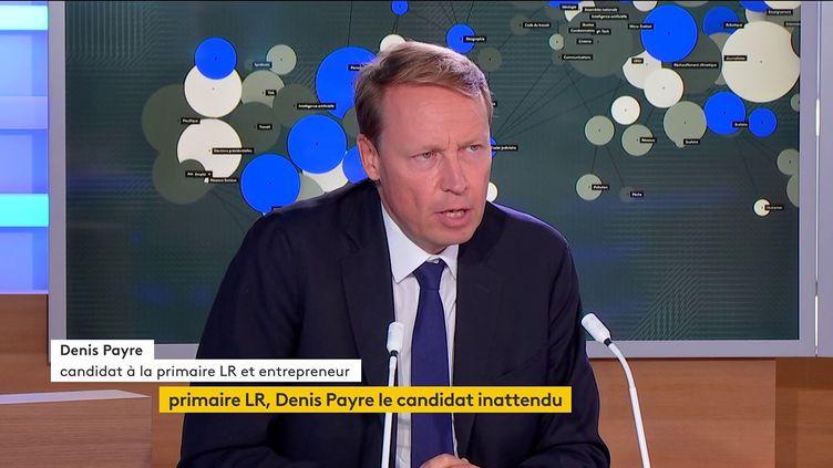 Denis Payre, candidat à la primaire de la droite à l'élection présidentielle, le 1er septembre sur la chaîne franceinfo. (FRANCEINFO)