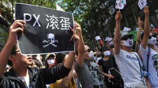 Manifestation en Chine, le 16 mai 2013 à Kunming, contre un projet pétrochimique visant à produire du paraxylène (PX). (AFP/IMAGINECHINA)