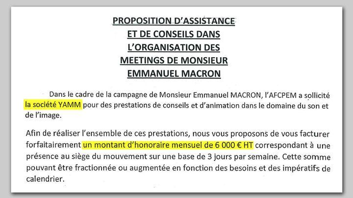 Extrait du contrat passé entre la société Yamm d'Arnaud Jolens, et En marche. (FRANCEINFO / RADIOFRANCE)