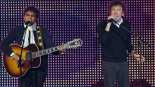 Laurent Voulzy et Alain Souchon lors d'un duo au Zénith de Paris en juillet 2010  (BERTRAND LANGLOIS / AFP)