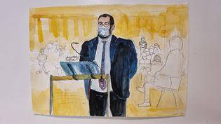 Alexandre Benalla à la barre lors de son procès devant la 10e chambre correctionnelle du tribunal judiciaire de Paris, le 13 septembre 2021. (ELISABETH DE POURQUERY / FRANCEINFO)