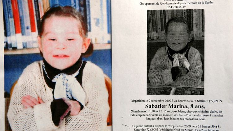 L'avis de recherche diffusé le 9 septembre 2009, après la prétendue disparition de Marina, retrouvée morte deux jours après. (JEAN-FRANÇOIS MONIER / AFP)