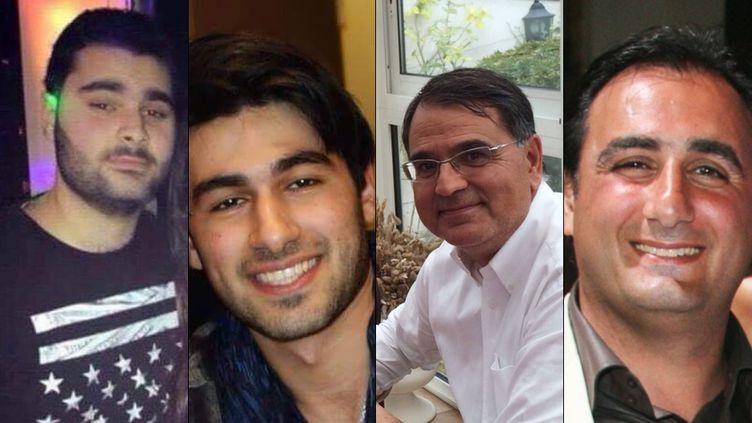 De gauche à droite : Yohan Cohen, Yoav Hattab,François-Michel Saada etPhilippe Braham, morts, le 9 janvier 2015, dans la prise d'otages d'un magasin casher, porte de Vincennes, à Paris. (AFP)
