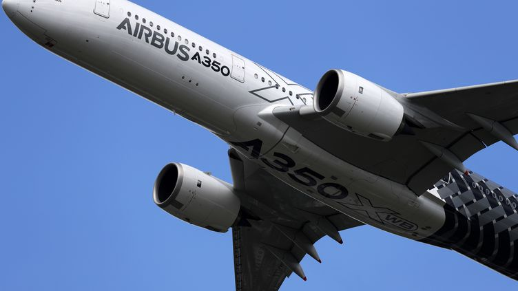 Un Airbus A350 XWB effectuant une démonstration de vol au salon aéronautique de Farnborough, au sud-ouest de Londres. (ADRIAN DENNIS / AFP)