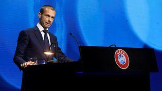 Leprésident de l'UEFA Aleksander Ceferin, le 20 avril 2021, lors d'un Congrès portant sur le projet avorté de Super Ligue.  (RICHARD JUILLIART / UEFA)