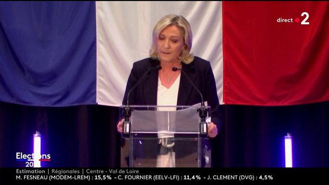 """Elections régionales et départementales : """"nos électeurs ne se sont pas déplacés (...) je les appelle au sursaut"""", encourage Marine Le Pen"""