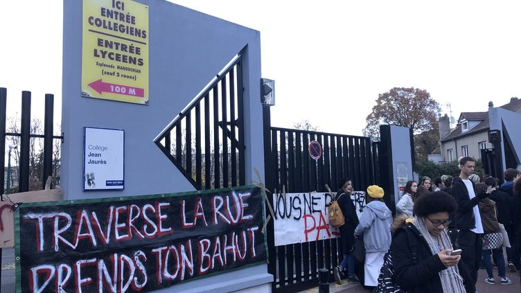 Le lycée Jean-Jaurès de Montreuil, bloqué vendredi 30 novembre dans le cadre de l'appel de l'UNL. (ALEXIS MOREL / RADIO FRANCE)