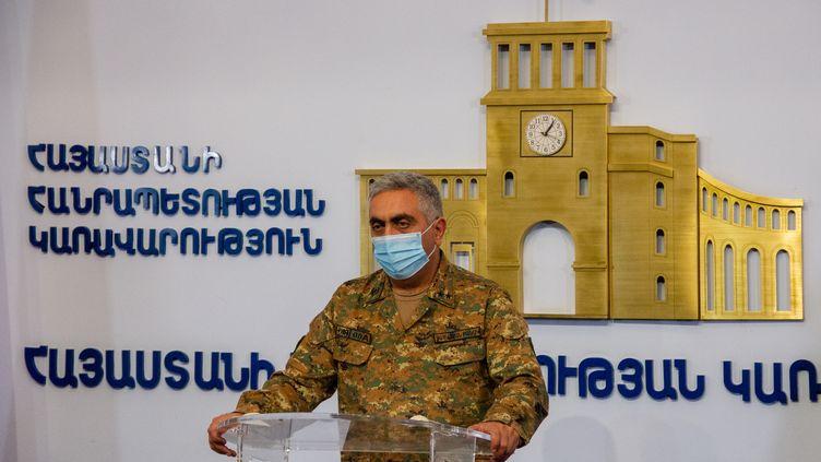 Artsrun Hovhannisyan, représentant du ministère de la Défense arménien, le 27 septembre 2020 à Erevan (Arménie). (ANDRANIK GHAZARYAN / SPUTNIK / AFP)