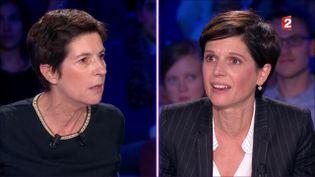 """L'ancienne secrétaire nationale d'EELV, Sandrine Rousseau (à droite), face à l'écrivaine Christine Angot sur le plateau de l'émission """"On n'est pas couché"""" de France 2, samedi 30 septembre 2017. (FRANCE 2)"""