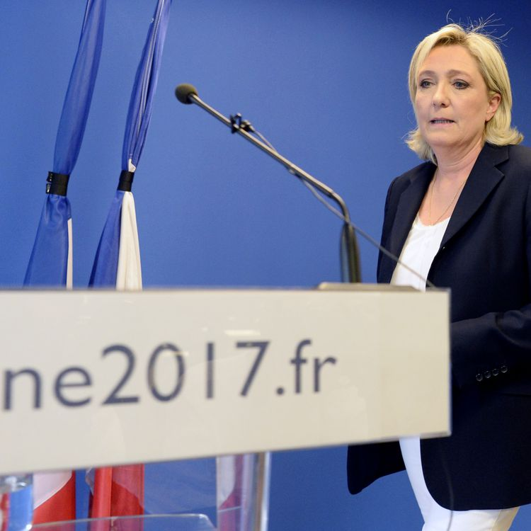 Marine Le Pen, le 16 juillet 2016, au siège du Front national à Nanterre (Hauts-de-Seine). (ALAIN JOCARD / AFP)