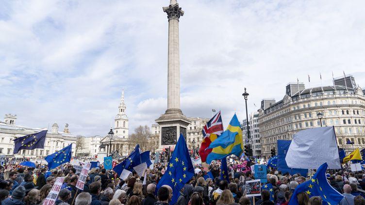 Des centaines de milliers de Britanniques pro-Européens ont défilé à Londres samedi 23 mars pour réclamer un nouveau référendum sur le Brexit. (NIKLAS HALLE'N / AFP)