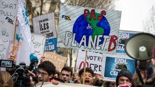 """Une manifestation pour une """"révolution alimentaire"""", à Paris, le 1er mars 2019. (RICCARDO MILANI / HANS LUCAS / AFP)"""