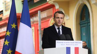 Le président de la République Emmanuel Macron lors de son discours d'hommage au préfet Erignac, à Ajaccio (Corse du Sud), le 6 février 2018. (LUDOVIC MARIN / AFP)