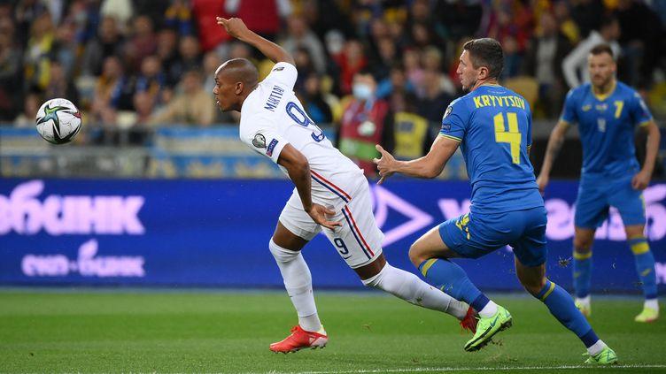 Anthony Martial titulaireavec la France face à l'Ukraine en éliminatoires de la Coupe du monde 2022, samedi 4 septembre. (FRANCK FIFE / AFP)