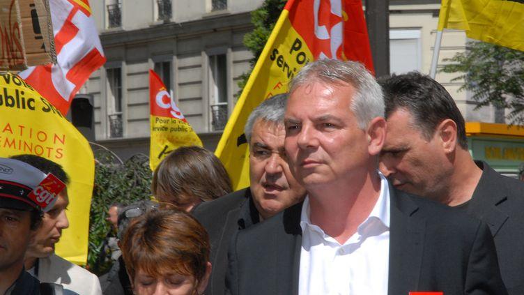 Le secrétaire général de la CGT, Thierry Lepaon, le 22 mai 2014 à Paris. (PATRICE PIERROT / CITIZENSIDE.COM / AFP)